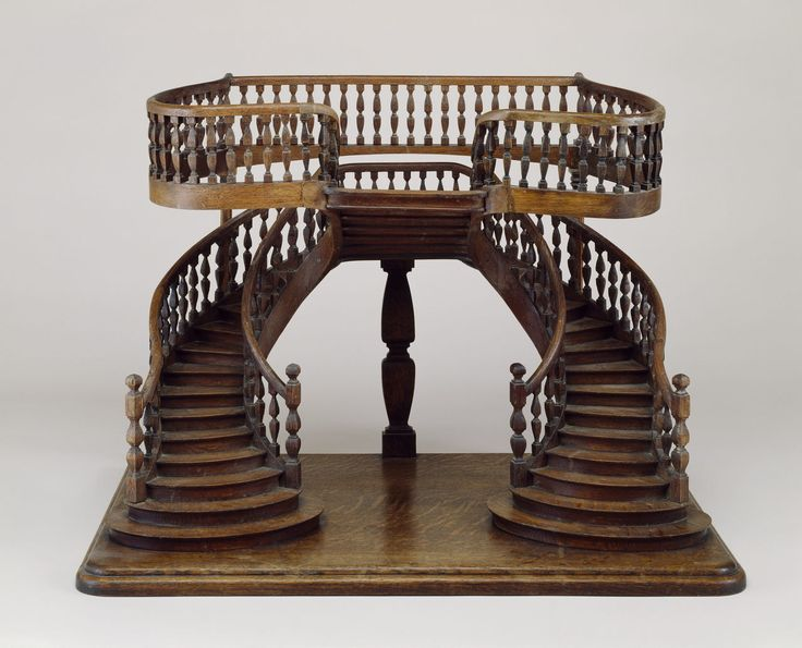 Staircase Model (France), mid–late 19th century; carved, joined, turned, bent, and planed oak; H x W x D: 52 x 71 x 44 cm (20 1/2 x 27 15/16 x 17 5/16 in.); Gift of Eugene V. and Clare E. Thaw; 2007-45-10