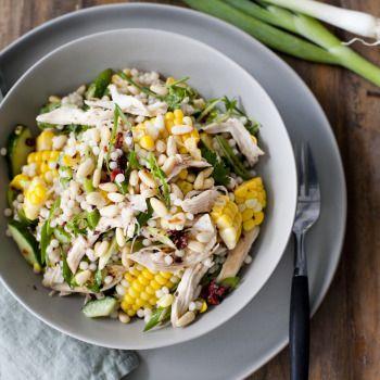 Corn, Chicken and Sundried Tomato Israeli Couscous Salad