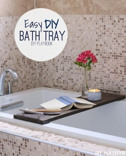 Create this super simple bathroom decor in an afternoon. Love this DIY bath tray to hold all the necessities while in the tub.