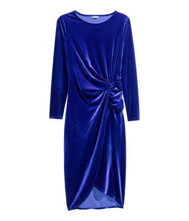 H&M+ Gedrapeerde jurk | Donkerblauw | Dames | H&M NL plus size dress blue from size 44 european