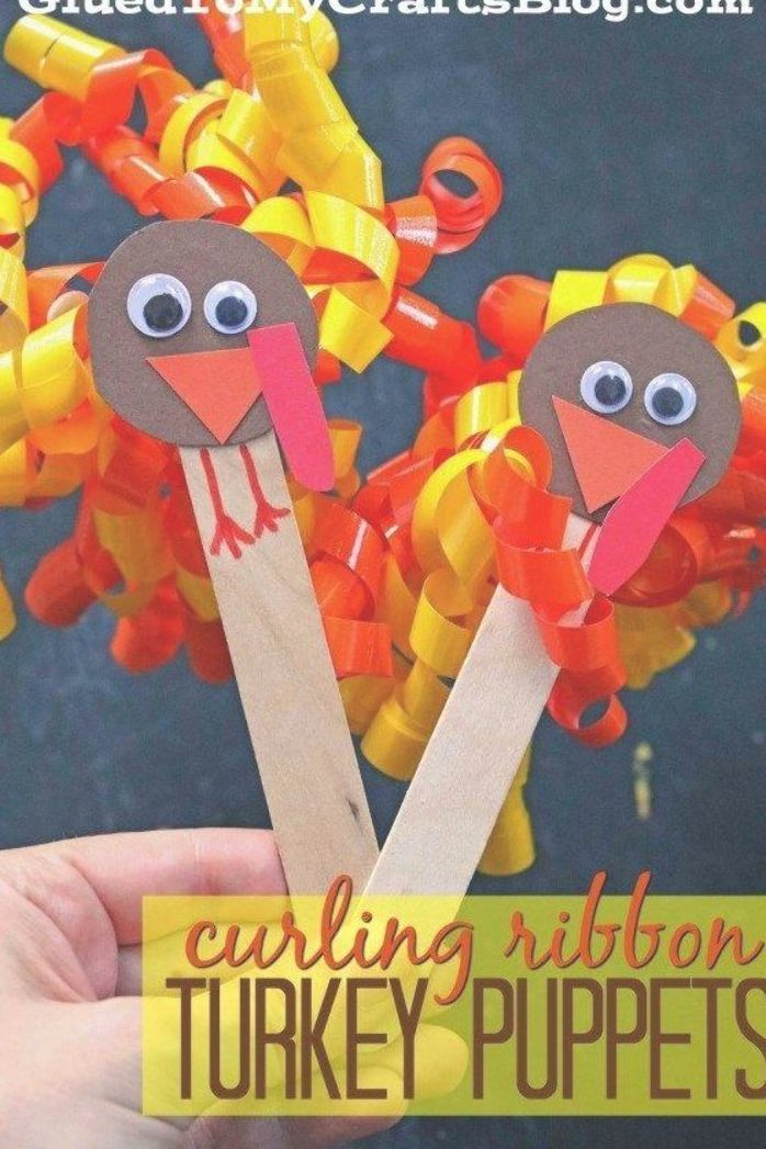 Gluedtomycrafts We Took Materials From Dollar Tree And Made These Curling Ribbon Tu Thanksgiving Kinder Basteln Thanksgiving Basteln Basteln Fur Kindergartner