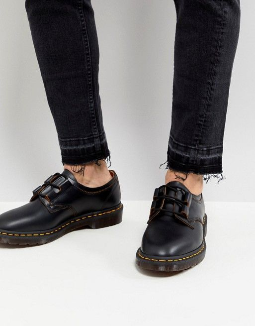 Dr Martens Archive Ghillie Shoes In Black Smooth