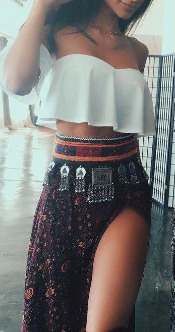 #summer #outfits / split boho skirt + bandeau top