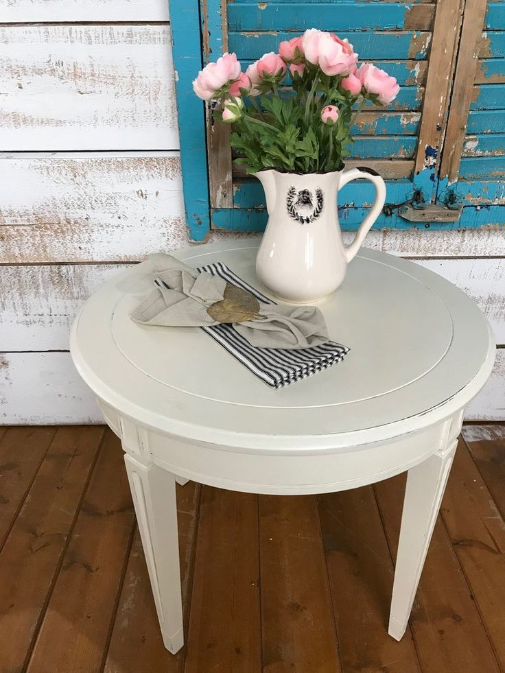 Round Accent Table  Old White Chalk Paint  The Passionate Home - Langley