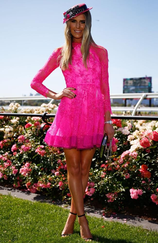 Myer Fashions on the Field Ambassador Georgia Connolly wore Alex Perry to Melbourne Cup Day at Flemington. Picture: Zak Kaczmarek/Getty Images for the VRC.