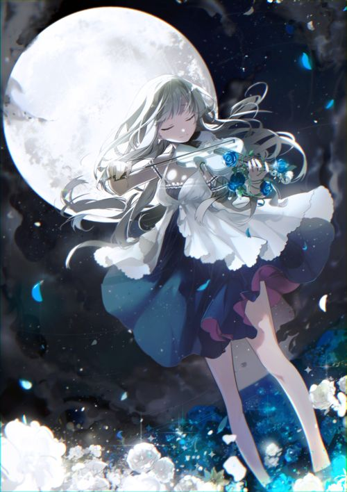 Imagen de anime, anime girl, and moon