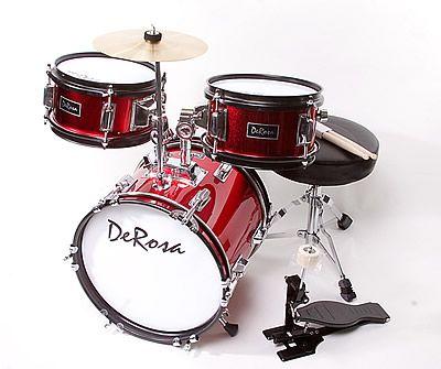 <3 DeRosa Bridgecraft 3 Piece Kids Drums - Junior Children's/Kids Drum Set (for 3 - 5 yrs old)