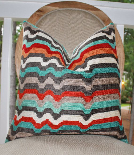Throw Pillows Bright Colors : Decorative Zig Zag Pillow Cover -Geometric Modern Stripe Red Orange Turquoise Grey Pillow ...