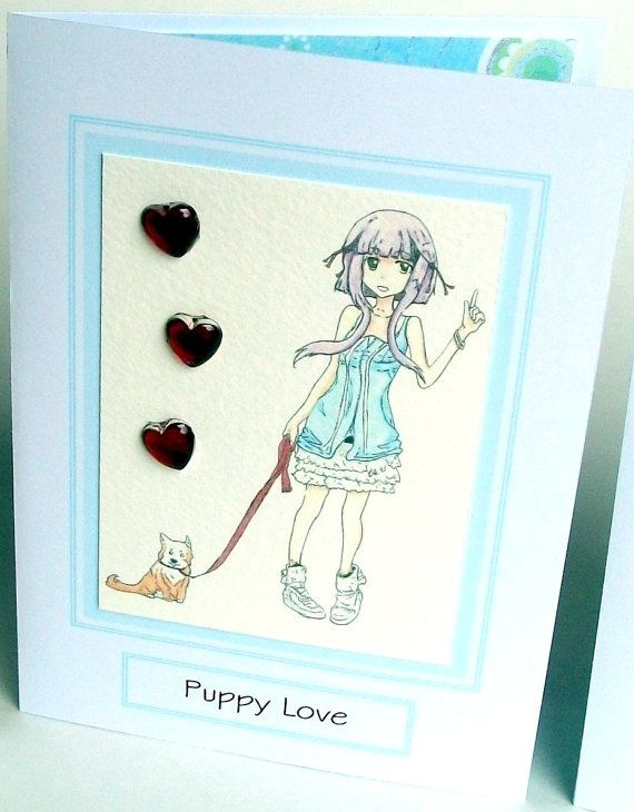 Puppy Love printed embellished hearts Anime style by StitchMikki, $2.00