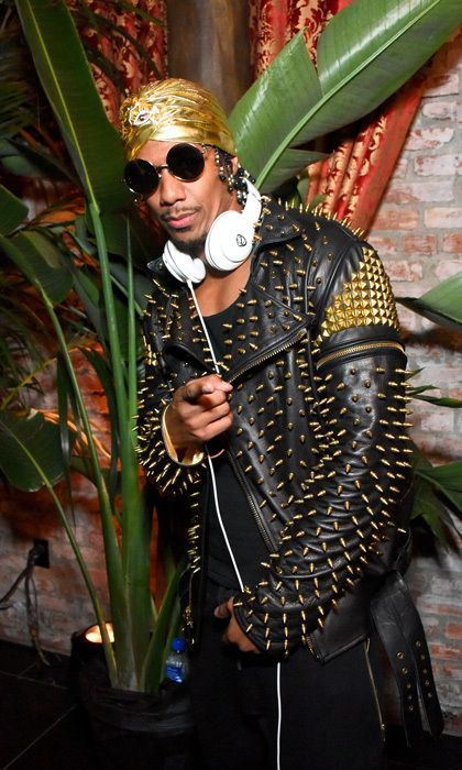 Nick Cannon took a break from deejaying the Republic Records and Cadillac party to snap a photo showing off his studded leather jacket.