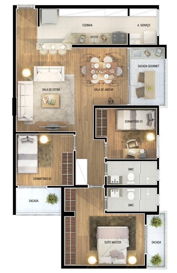 Pinterest: @claudiagabg   Apartamento 3 cuartos