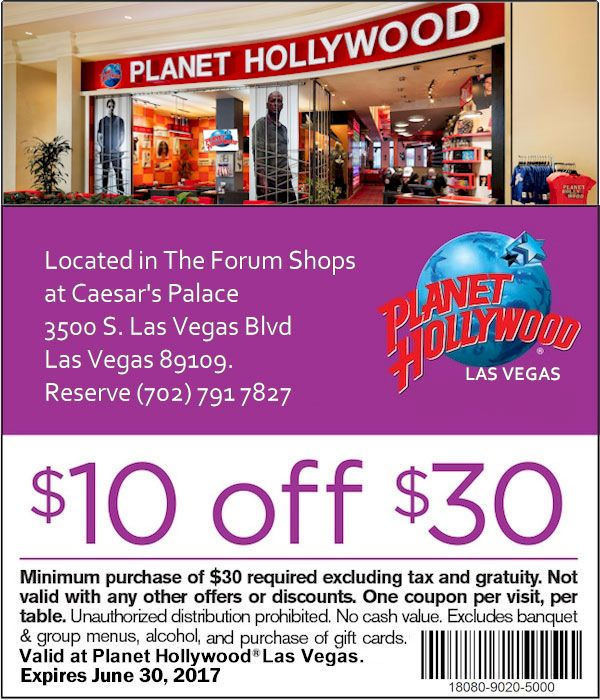 Planet Hollywood Las Vegas Restaurant Coupons | Vegas ...