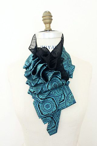 Teal Noir Lapel - Lilian Asterfield necktie ruffle collar