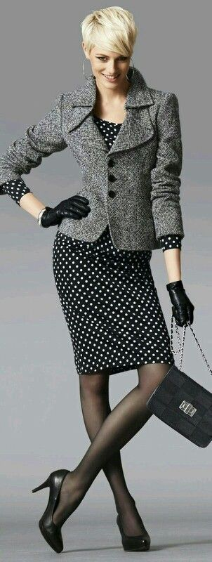 Polka dot dress with tweed jacket