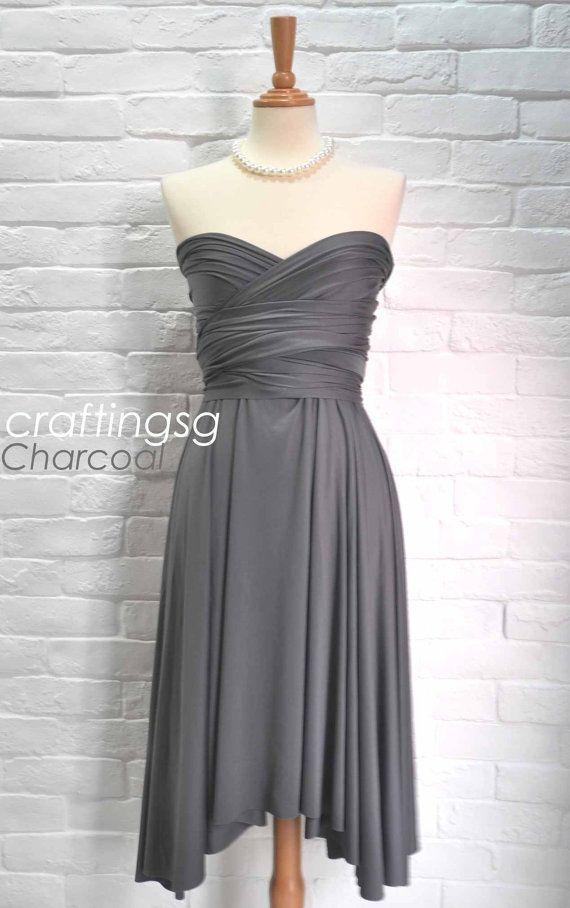 Bridesmaid Dress Infinity Dress Charcoal Grey Knee Length Wrap Convertible Dress Wedding Dress on Etsy, $35.00