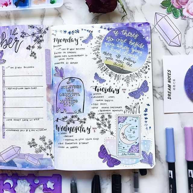 misfit.plans Page 2 of my purple spread in memory of my friend. The tombstone is a drawing of the tattoo he had (quote from slaughterhouse five).  stickers from @laceandwhimsystudio (link/discount code in my linktree)