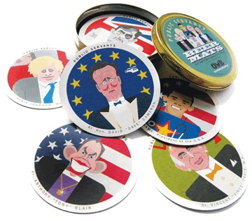 An attractive tin holding 18 beer mats, each printed on both sides with caricatures from our Public Servant range. The following politicians are featured: Gordon Brown, David Cameron, Tony Blair, Barack Obama, Boris Johnson and Vince Cable.