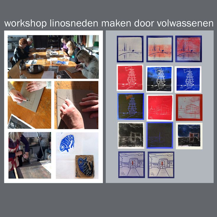 een workshop linosneden maken door volwassenen. Afscheidscadeau in sferen van Den-Helder en  Veere waar de collega naar toe verhuist. Kunst en tekenwerk in samenwerking met Triade Den-Helder.