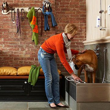 Set Up a Hosing Station For those days that your pup decides on a dirt massage, a mud room with a sink and built-in hosing center is the answer.