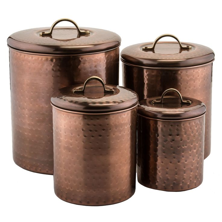 Decorate your kitchen with old Dutch's hammered antique copper canister set. With their vintage hammered finish and generous capacity, these copper plated stainless steel canisters are an attractive a