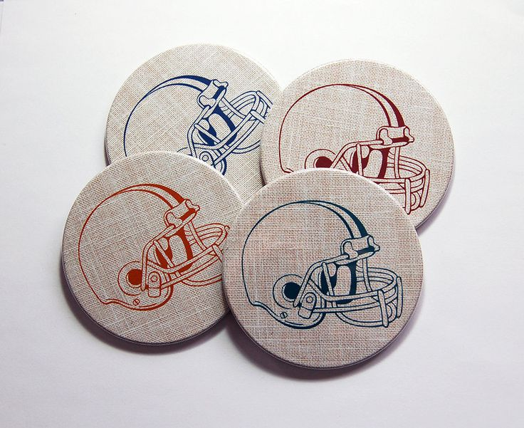 Football Coasters, Sports Coasters, Coasters, Hostess Gift, Tableware, Fathers Day, Gift for Dad, Football Fan, cork backing (7364) by KellysMagnets on Etsy