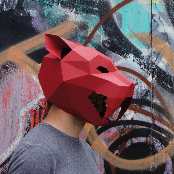 Sabre-toothed Tiger Mask - build your own from card using our polygon mask template