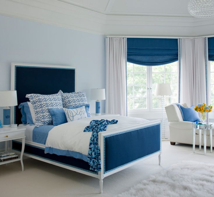 Contemporary Blue Bedroom With White Nightstand Table And White Shade Floor  Lamp.