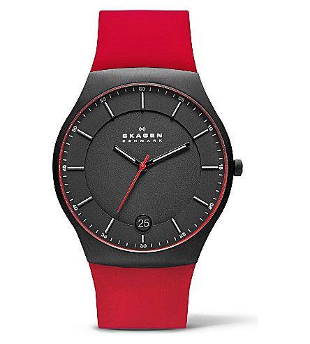 SKAGEN SKW6073 three-hand silicone titanium watch (Black