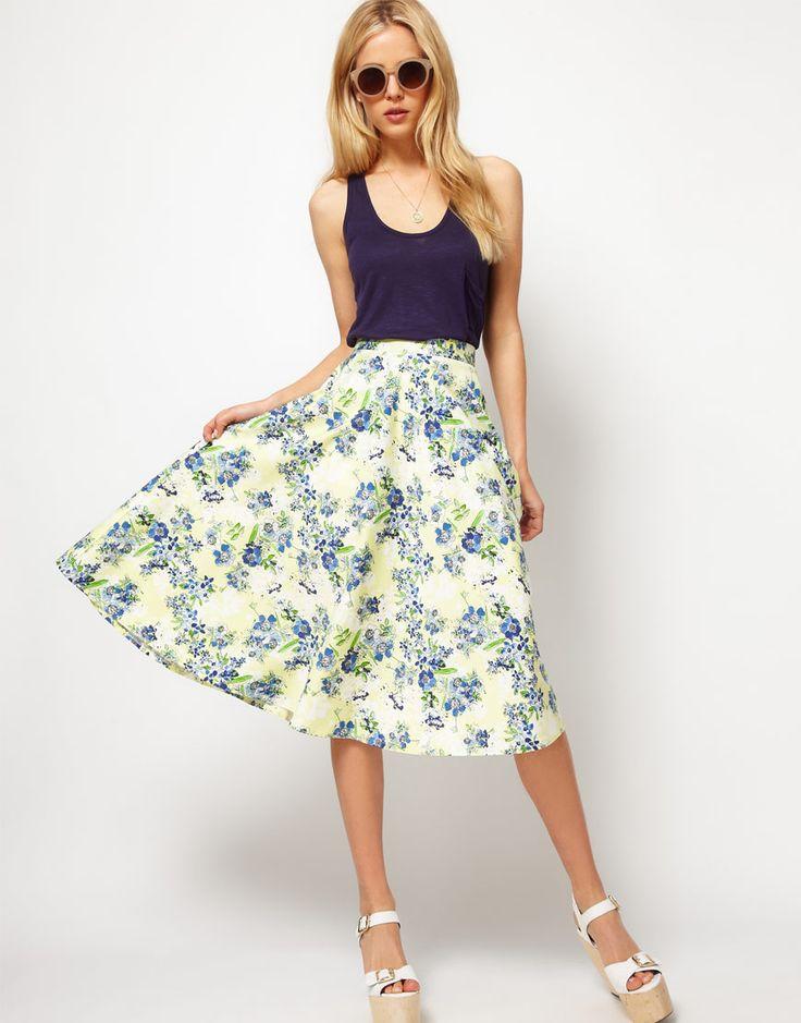 Floral midi skirt for summer