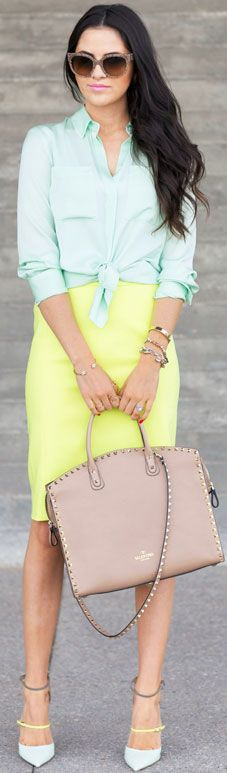 Mint & Lime Green Summer Business Outfit