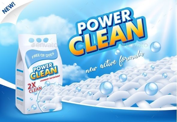 Powder Laundry Detergent Advertising Vector Powder Laundry