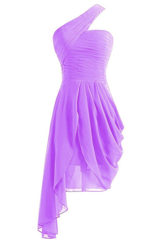 ASBridal Women's Chiffion One Shoulder Evening Prom Dress Pleated Short Bridesmaid Gown, Orchid, US20W