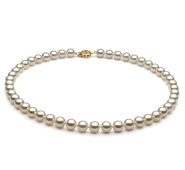 Sanja Halskette - Weiß AAA 7.5-8mm Japanische Akoya