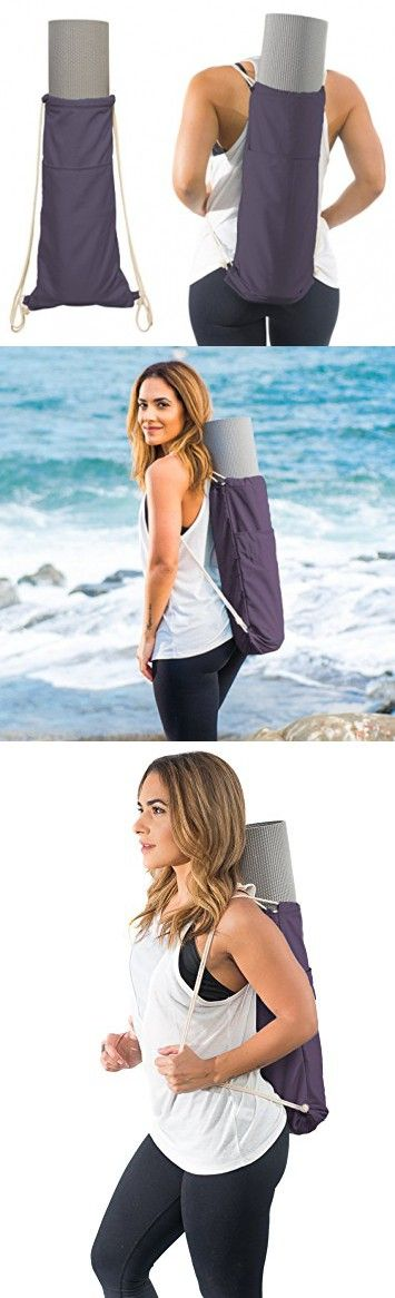 Yoga Mat Bag by Yogiii | The YogiiiToteGO | Yoga Mat Backpack Sling Carrier w/ Large Side Pocket | Fits Standard Size Mats (Imperial Purple)