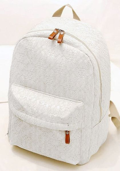 This white lace backpack features nice and smooth PU leather at the back, canvas fabric for the body, and a fantastic lace overlay for style.