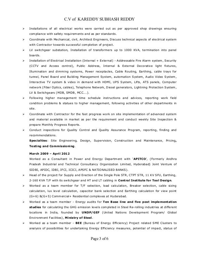 Mep Engineer And Resume And Lighting - Experts' opinions