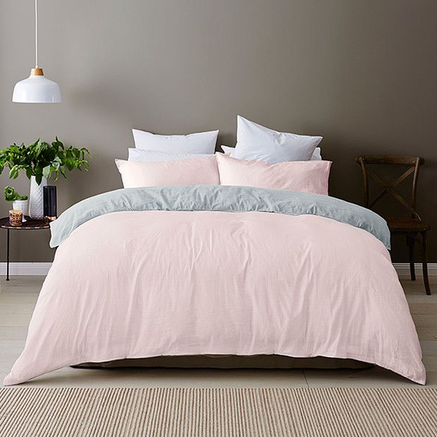 Linen Cotton Quilt Cover Set – Pink | Target Australia