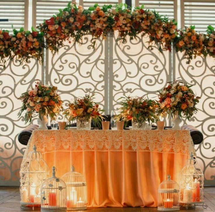 Orange and Cream Flower Garland Arch for Ceremony and Wedding Now Available @idesignevents