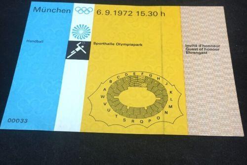 1972 Munich Olympics München UNUSED Handball Event ticket 6.9.1972 Rare Guest please retweet