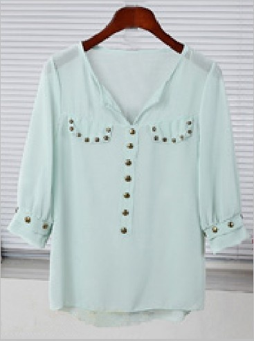 sheer mint blouse with studs