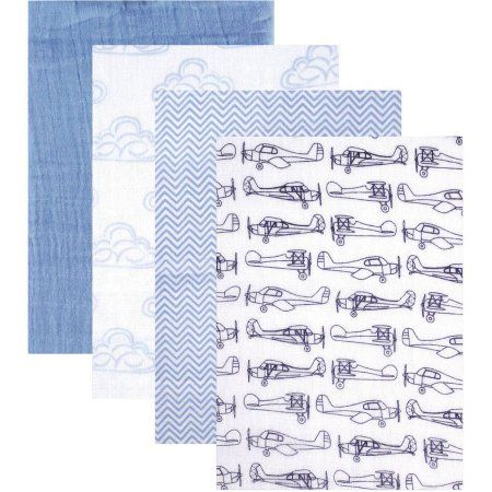 Hudson Baby Swaddle Blanket, Muslin 4pk, Blue