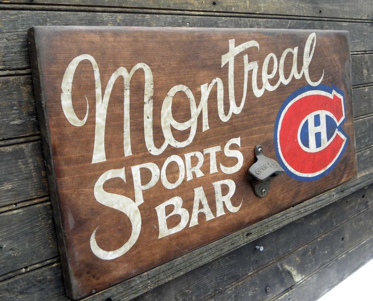 Montreal Canadiens Hockey  Sign, hand painted,,original, art ,  wooden , decor, wall hanging. $87.00, via Etsy.