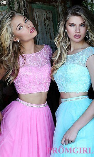Two Piece Dress with Cap Sleeves by Sherri Hill at PromGirl.com