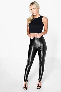 Petite Camy High Waisted PU Trouser