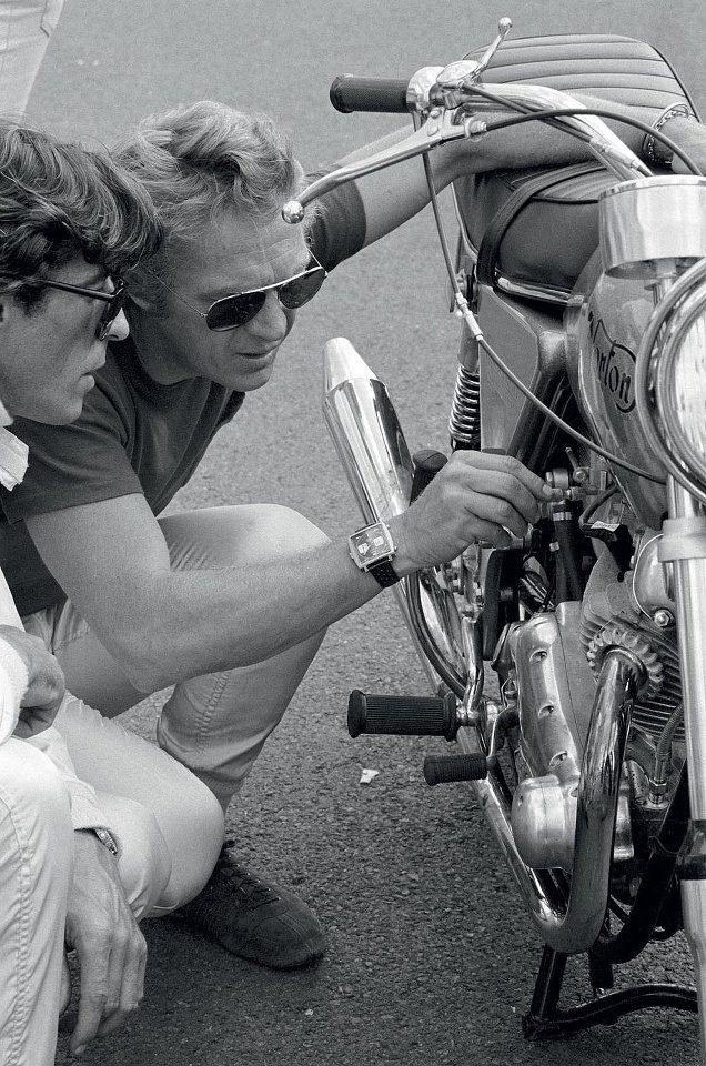 Steve McQueen on Le Mans set with his Heuer Monaco