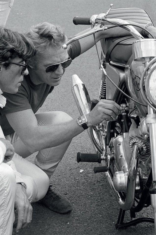 Steve McQueen on Le Mans set with his Heuer Monaco                                                                                                                                                     Plus