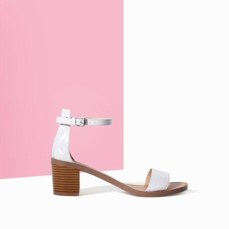 BLOCK HEEL SANDAL - Shoes - TRF - SALE | ZARA Canada Ref. 3619/301 59.90 CAD UPPER 100% POLYURETHANE LINING 50% POLYESTER 50% POLYURETHANE SOLE 100% THERMOPLASTIC RUBBER