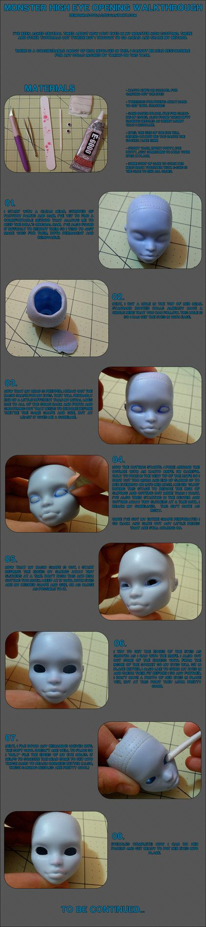 Monster High glass eye opening tutorial. Unfortunately doesn't show installing the eyes and closing the head.