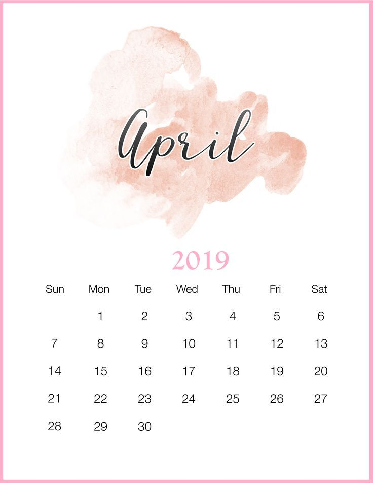 Watercolor 2019 April Printable Calendar Kalender Pinterest