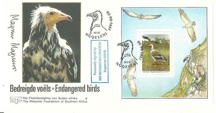 Endangered Birds FDC signed by Mr Magnus Magnusson